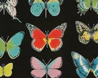 El Tiempo de Mariposa in Black - Alexander Henry cotton fabric - half yard or more