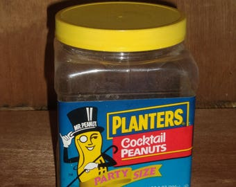PLANTERS COCKTAIL PEANUT Jar/Kitchen Storage/Canister/Collectable/Advertising/Food Container/Vintage Jar/ Vintage Container