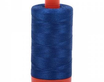 Dark Cobalt Aurifil Mako Cotton Thread Color 2740, 50 wt, 1300m, 1 spool
