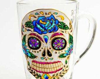 Sugar Skull Mug, Day of the Dead, Father's Mug, Mexican Folk Art Mug, Dia de los Metros