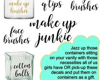 Make-Up Brush Decal DIY Gift Idea Make Up Junkie Custom Decal