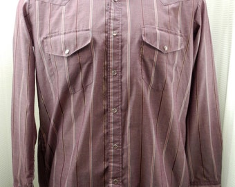 Vintage Miller Westernwear Wine/Metallic Gold Stripe Snap Front Shirt 16-1/2 34