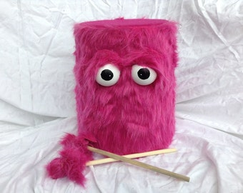 Kids Drum - Furry Pink Handmade Eco-Friendly Durable Fun Coolest Marching Puppet Drum For Kids 'BOOM BUDDY'