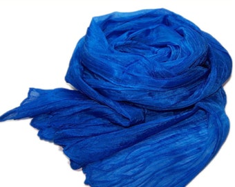 Hand dyed silk scarf - 4 sizes - crinkle scarf - BLUE