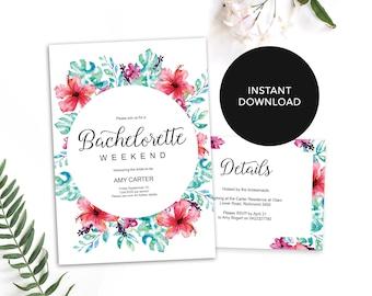Bachelorette Invitation Template / Bachelorette Weekend Template / Tropical Bachelorette  Invite / Editable Bachelorette Invitations DIY