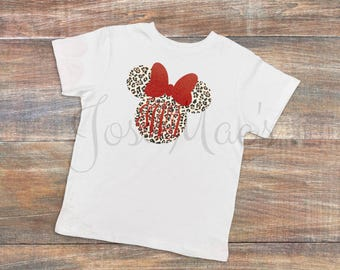 Toddler Sizes Animal Print Minnie Bow Monogram Shirt - Animal Kingdom - Disney Shirt - Vacation Shirt