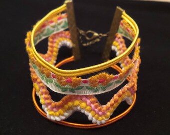 Bracelet multi row Orange stripes