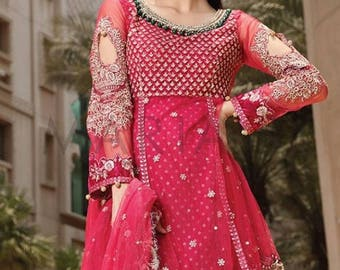 Maria B. Mbroidered Eid Collection 2016 wedding party wear dresses gharara pants peplum style