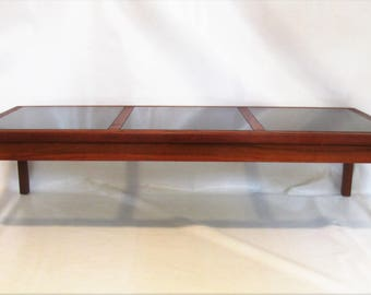 Mid Century Modern Danish Teak Coffee Table with Smoked Glass