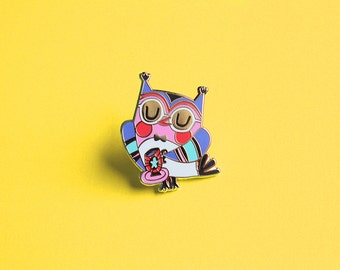Pin owl with teacup hard enamel pin brooch pins enamel pins pin sale owl pin cute owl pin gift for her gift ideas gifts for women cute pin