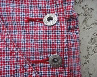 rib overalls shorts plaid - medium