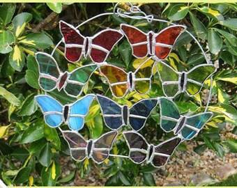 Butterflies- stained glass- garden- gift - present