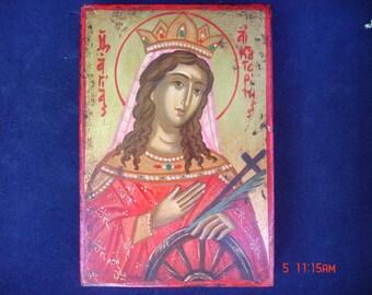 original icon.Saint Katherine.hand painted .kathrin.byzantine greek religious art.christian orthodox icon