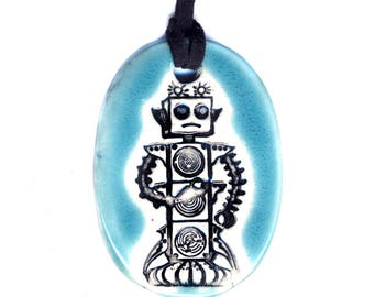 Little Robot Ceramic Necklace in Turquoise