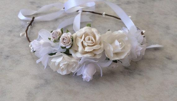 White flower crown bridal hairpiece bridesmaid flower girl like this item mightylinksfo