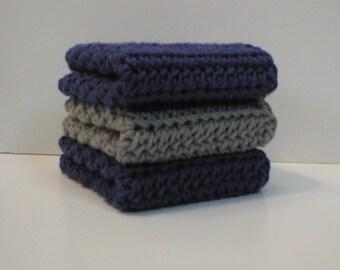 "Handmade Crochet Cotton Dishcloths or Washcloths 3-Pk, 2 Deep Blue, 1 Silver Grey, About 7-1/2"" (Dishcloths6757)"