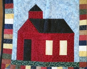 """Little Red SCHOOLHOUSE Wall Hanging- Hand Quilted; 18 1/2"""" X 18 1/2"""";Colorful;Tabs to hang;Great gift for a teacher;"""