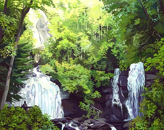 Anna Ruby Falls - Georgia (Art Prints available in multiple sizes)