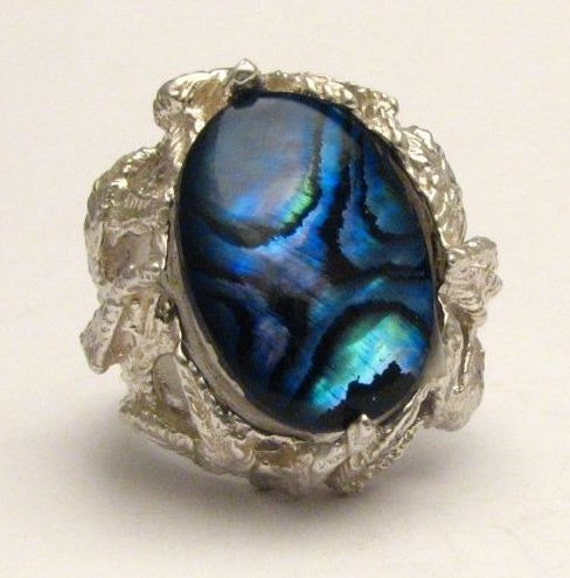 New Custom Made Blue Paua Shell Ring Beautiful Band Design 12.5ct 10 grams of Solid Sterling Silver.   Custom Sized to fit you