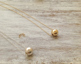Gold ball necklace, ball necklace, bead necklace, minimalist necklace, gold filled ball necklace, dot necklace, bridesmaid necklace - 10017