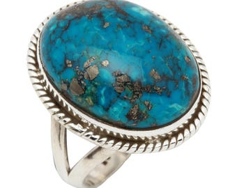 Turquoise ring, handmade ring, 92.5% sterling silver ring, silver Turquoise ring, gemstone ring, solid sterling silver ring, turquoise  70