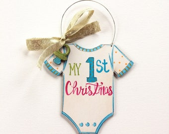 My first Christmas ornament- personalized ornament - painted ornament for baby - pacifier- baby bodysuit - hand lettering- New baby Ornament