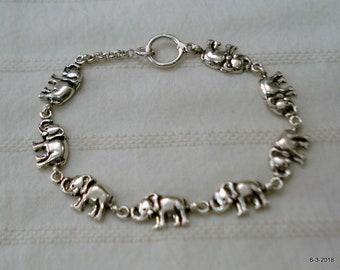 Traditional elephant design sterling silver bracelet bangle cuff handmade