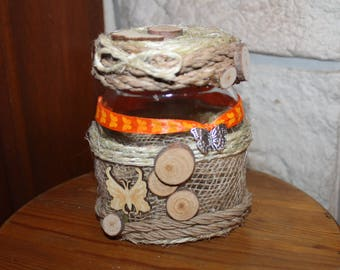 jar glass decorated with rope, wood and burlap model butterflies