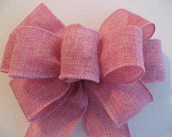 Pink Wreath bow, Wire edged burlap ribbon,  Burlap Wreath Bow / Pew Bow / Wreath Bow / Spring / Easter / Gift / Baby Shower / Bridal Shower
