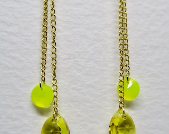 Yellow Swarovski Gold Earrings