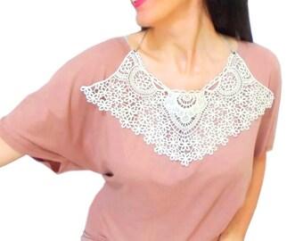Cotton lace necklace, Crochet Bib Necklace, Bohemian Boho, Aplique, Detachable Cream Crochet collar, Woman Accessories