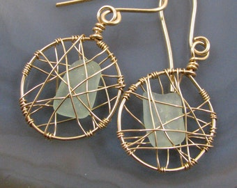 Sea Glass Earrings - genuine California sea glass, gold fill wire cage, handmade, lightweight, medium size