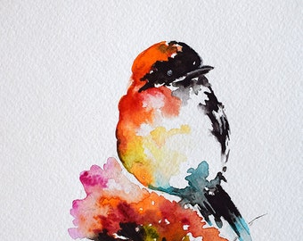 ORIGINAL Watercolor Bird Painting, Red Bird On A Spring Flower, Colorful Bird 6x8 Inch