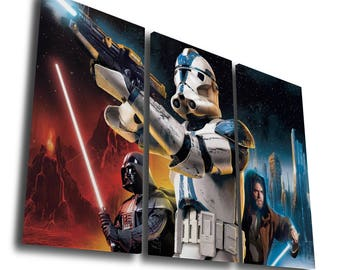 Star Wars Panorama Empire Strikes Back Darth Vader Boba Fett Stormtrooper Painting Printed Canvas Wall Art Picture Home Décor, Split Canvas