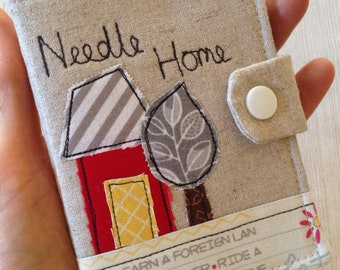 Handmade sewing needle case, linen and appliqué needle case, one of a kind needle holder, gift for sewer, quilter or crafter, needle house