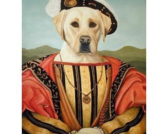 Seve, Yellow Labrador Retriever,  5x7 Print, Dog Rules, Dog Prince, Dressed Up Dogs