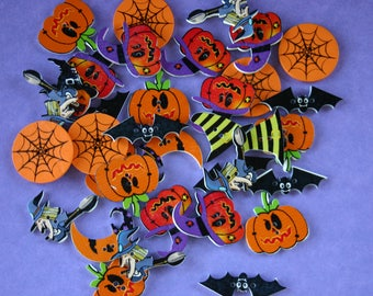 Halloween Wood Buttons - Scrap booking - Sewing - Card making - Craft supplies