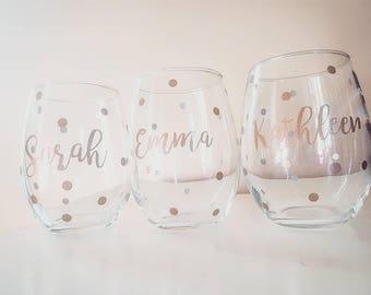 Bridesmaid Stemless Wine Glasses - Bridesmaid Gift