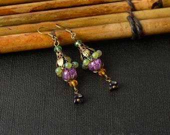 Fuchsia beaded flower earrings