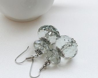 ndb-Sage Green Faceted Rondelle Dangle Earrings