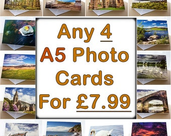 Any 4 of my A5 Photo Greetings Cards Mixed Selection Multi Pack Pick and Mix Offer Deal