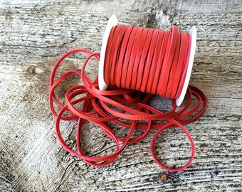 "Red Leather Cord 1/8"" Red Deerskin Leather Lace BY THE YARD - 3 Feet x 3mm Lace for Ties - Bead - Scarlet Deer Skin - Leather Craft Supplies"