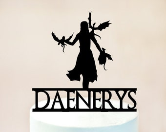 Game of Thrones cake topper,Daenerys Targaryen silhouette,mother of dragons silhouette,Game of Thrones birthday,Daenerys and dragons  (1065)