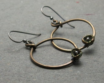 Keshi Pearl Earrings Brass Hoop Mixed Metal Oxidized Sterling Silver Stylized Poppy Gift for Her