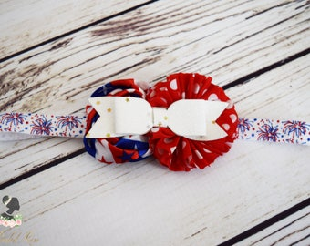 Handcrafted Fireworks Headband - Red White and Blue Headpiece - July 4th Baby Headband - Glitter Bows - Patriotic Headband - Fireworks Bow