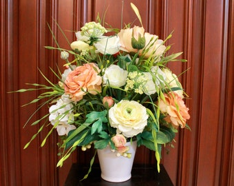 Silk Floral Arrangement - Orange/Yellow/White (S18-109)