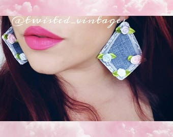 Recycled Jeans Denim Diamond Lace Hime Earrings