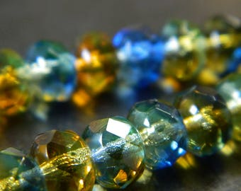 8x6MM Transparent Combined Color Fire Polished Faceted Czech Donut Beads - Fire Polish Finish - Czech Glass Beads - 18 Beads Per Strand CB32