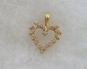 Lovely Signed Roman Crystal Rhinestone Heart Enhancer Pendant