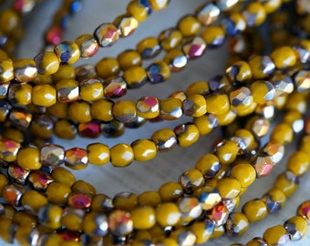 3mm Fire Polished Beads - Goldenrod - Mustard with Vitrail Finish - Faceted Rounds - Czech Glass Beads